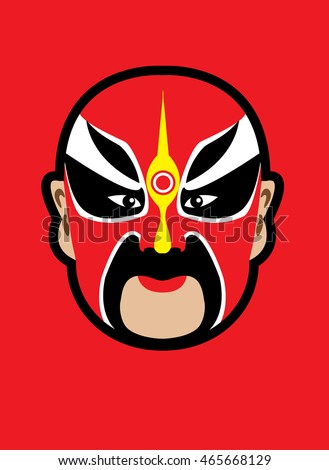 Chinese opera mask on bright red Background