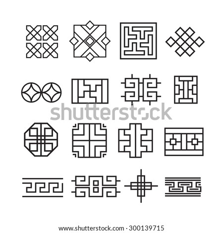 Chinese ornament icon,vector set - stock vector