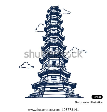 Chinese pagoda. Hand drawn sketch illustration isolated on white background - stock vector