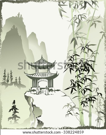 Chinese painting. Mountain landscape in the Chinese style. Vector.