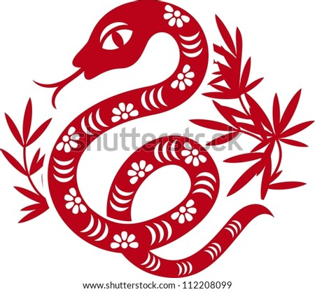 Chinese paper cut out snake as symbol of year 2013 - stock vector