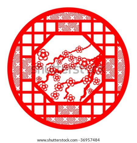 chinese paper cutting - stock vector
