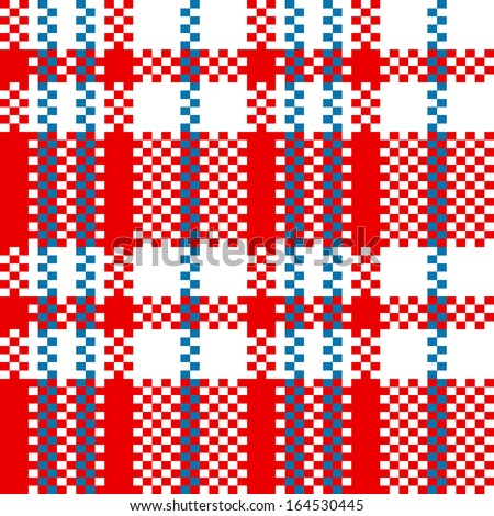 Chinese plastic plaid checker bag in red and white seamless pattern, vector - stock vector