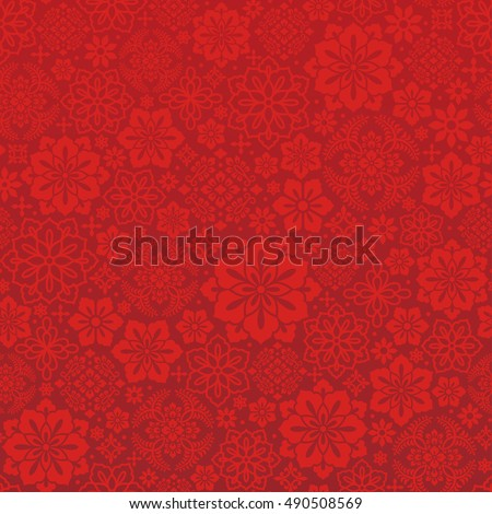 Chinese red background with decorative flower.