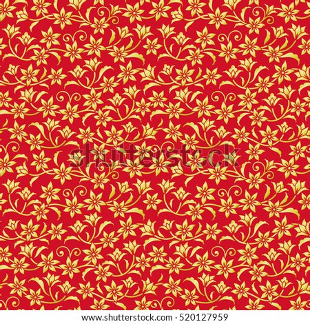 Chinese red background with golden flowers.