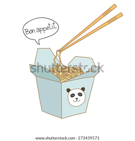 Chinese restaurant opened take out box filled with noodles and cute panda on box. Vector illustration. - stock vector