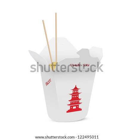 Chinese restaurant opened take out box filled with noodles, chopsticks inside - stock vector