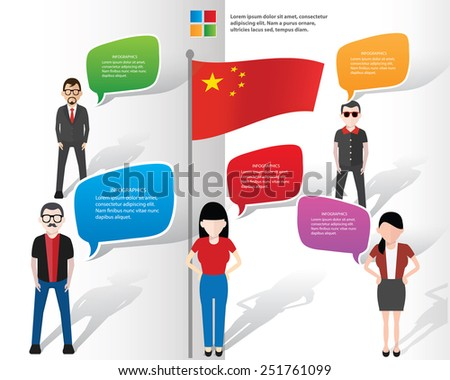 Chinese,Speech bubbles and businessman info graphic design,clean vector - stock vector