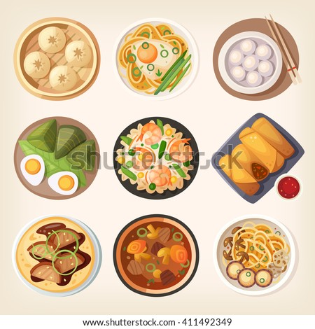 Chinese street, restaurant or homemade food icons for ethnic menu - stock vector