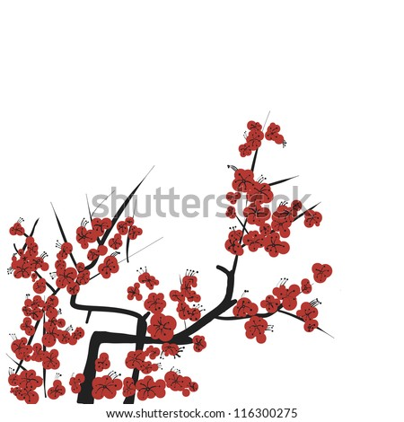 chinese style flower drawing vector - stock vector