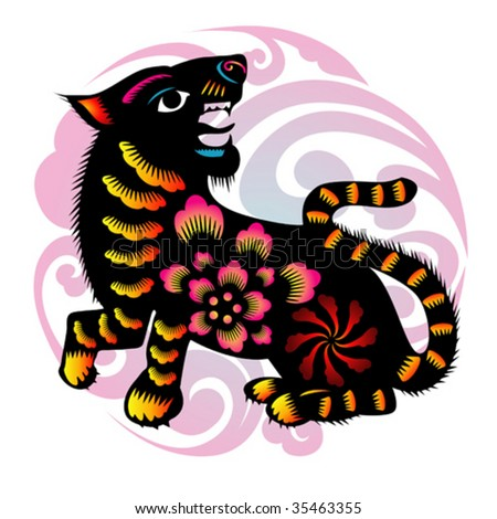 chinese style tiger - stock vector