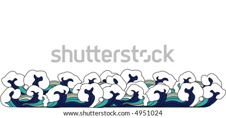 Chinese style waves - stock vector