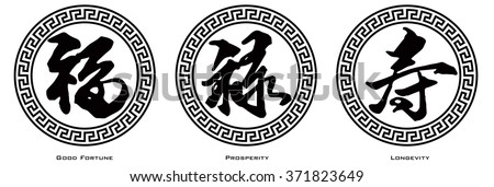 Chinese Symbol Calligraphy Ink Brush Strokes in Border Circle with Text of Good Fortune Prosperity and Longevity Vector Illustration
