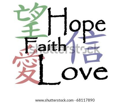 Chinese Symbols Hope Faith Love Stock Vector Royalty Free 68117890