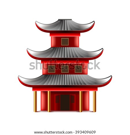 Chinese temple isolated on white photo-realistic vector illustration - stock vector