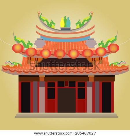 Chinese Temple Vector Chinese Temple With Red