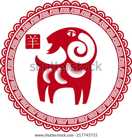 Chinese traditional sheep (goat) as a symbol of the year 2015 red on white - stock vector