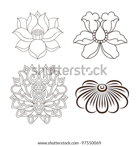 chinese virtual po-phase flowers: lotus,Paeonia suffruticosa, chrysanthemum composition - stock vector