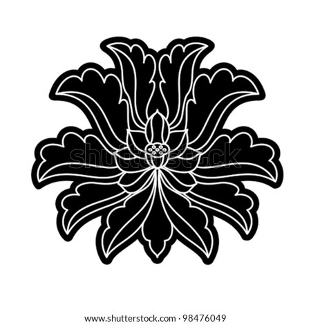 chinese virtual po-phase flowers: lotus,paeony suffruticosa, chrysanthemum composition, hand writing,black and white - stock vector