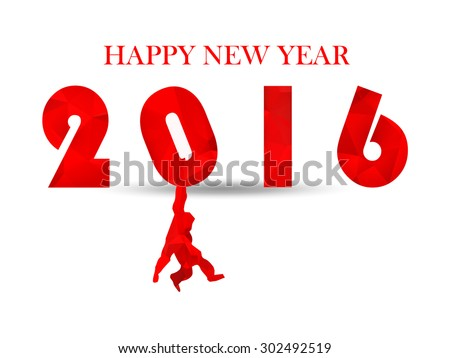 Chinese 2016 Year of the Red Monkey. Red triangle numbers with hanging red monkey's silhouette. blessing red text Happy new year. for calendar, invitation, post cards, congratulation. business mail.