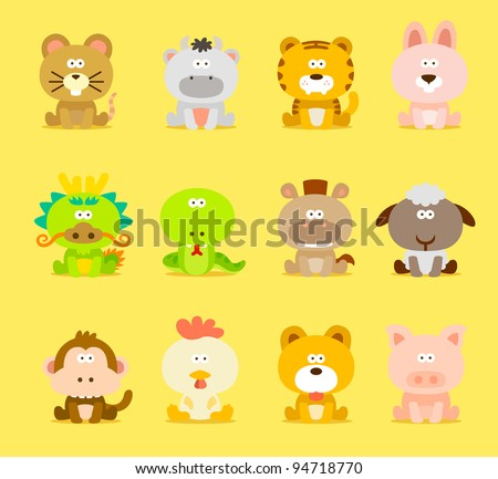 Chinese Zodiac animal ,12 animal icon set - stock vector