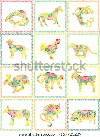 Chinese zodiac illustration - stock vector