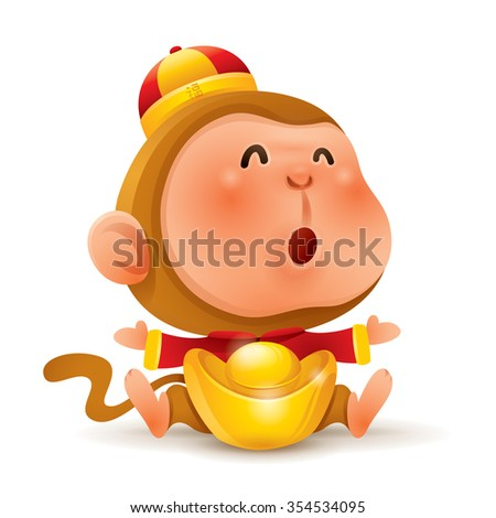 Chinese Zodiac - Monkey. Chinese New Year. Monkey with chinese gold. - stock vector