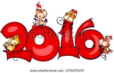 Chinese zodiac new year banner 2016 with the monkey