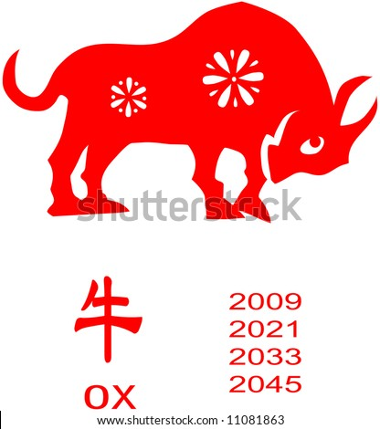Chinese Zodiac of ox Year. - stock vector