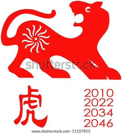 Chinese Zodiac of tiger Year. - stock vector