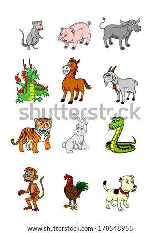 Chinese zodiac set - stock vector