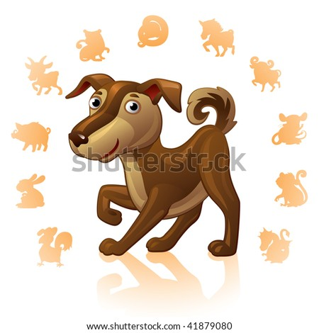 Chinese Zodiac Sign Dog - stock vector
