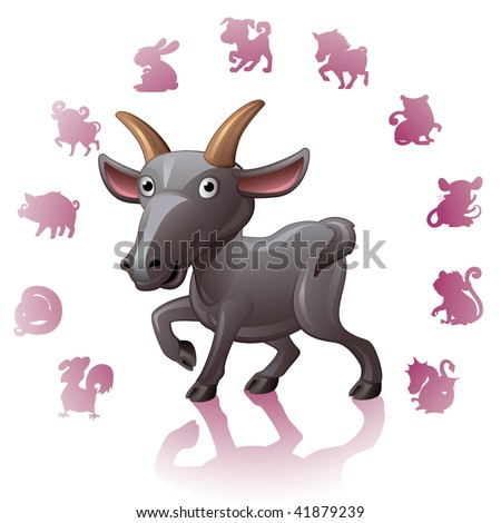 Chinese Zodiac Sign Goat - stock vector