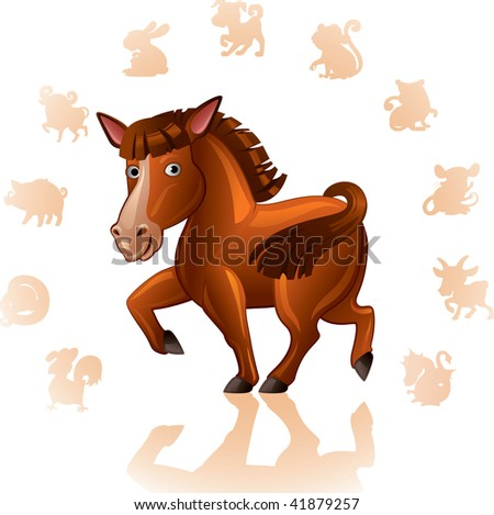 Chinese Zodiac Sign Horse - stock vector