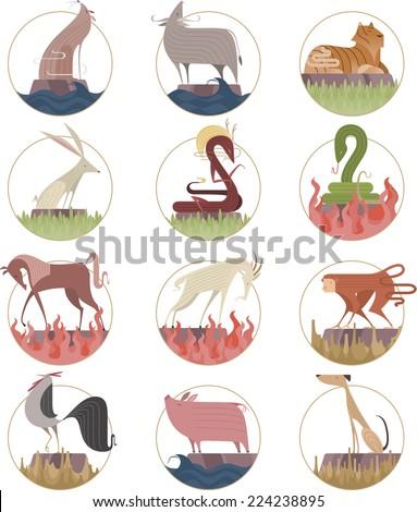 Chinese zodiac sign icon symbols cartoon vector illustration - stock vector