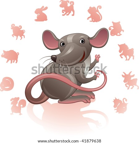Chinese Zodiac Sign Mouse (Rat) - stock vector