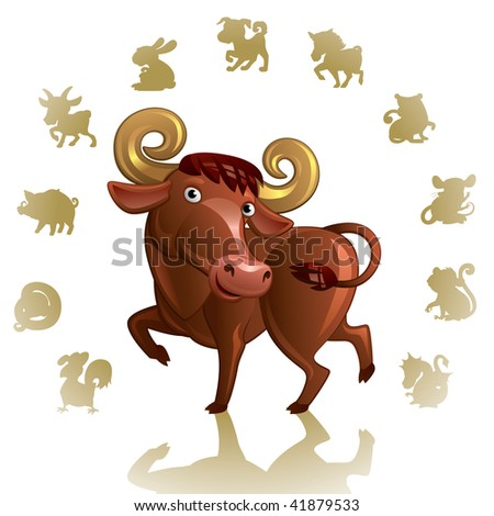 Chinese Zodiac Sign Ox - stock vector