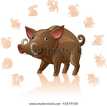 Chinese Zodiac Sign Pig - stock vector