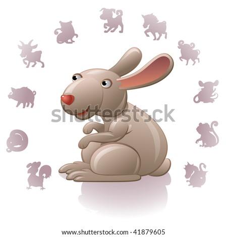 Chinese Zodiac Sign Rabbit - stock vector