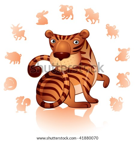 Chinese Zodiac Sign Tiger - stock vector