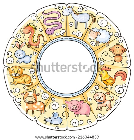 Chinese zodiac signs - stock vector