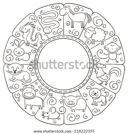 Chinese zodiac signs, black and white - stock vector