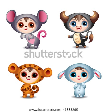 Chinese Zodiac Signs First part - Mouse (Rat), Ox, Tiger, Rabbit - stock vector