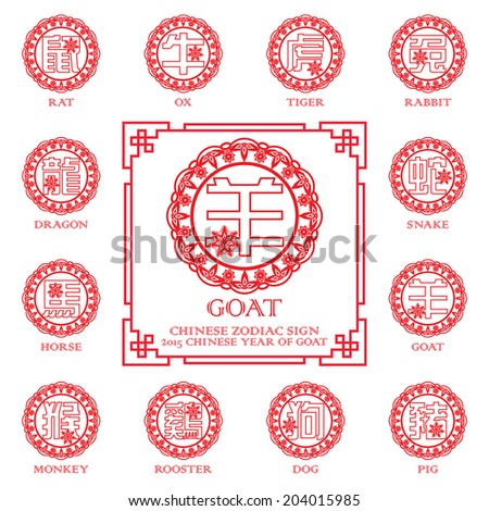 Chinese zodiac symbols / 2015 year of the Goat / Chinese paper cut arts design  - stock vector
