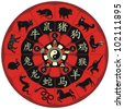 Chinese zodiac wheel with signs and the five elements symbols - stock photo