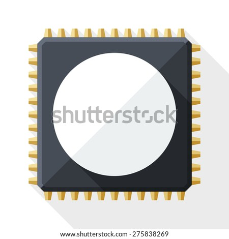 Chip icon with long shadow on white background - stock vector