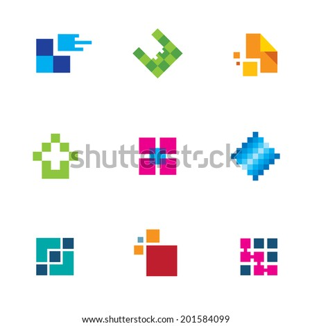 Chip pixel success technology integrate connection icon set logo creativity - stock vector