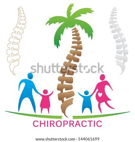 Chiropractic Family - stock vector