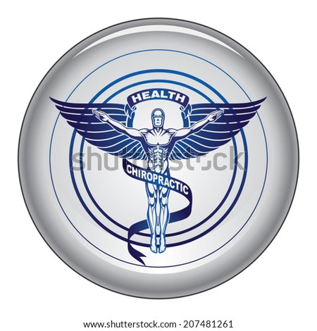 Chiropractic Symbol is an illustration of a chiropractors symbol or icon in black and white graphic style on a button. - stock vector