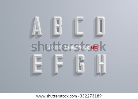 Chiseled Block Letters on Grey Background - Alphabet Vector Font - Type Letters - stock vector